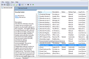 Security center Service - virus and threat protection