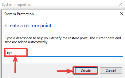 SystemPropertiesProtection create button