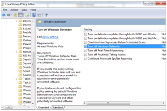 Turn off the Windows Defender Antivirus