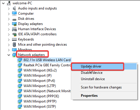 Update your wireless driver
