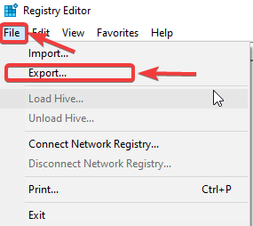 click on EXport