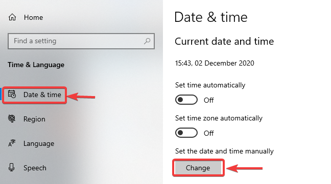 click on change under date and time - WINDOWS DEFENDER NOT WORKING