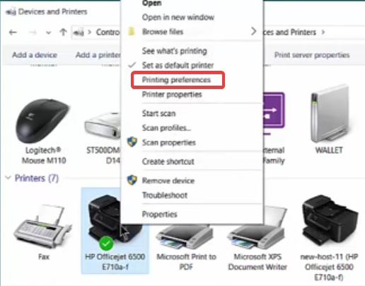 click on printing preference to fix Printer Printing Grayscale problems