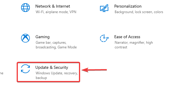 click on update & security to fix Windows Won't Boot