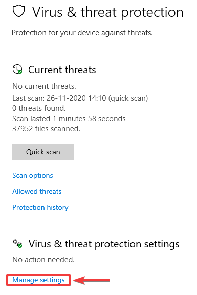 click on virus and threat protection manage setting - WINDOWS DEFENDER NOT WORKING