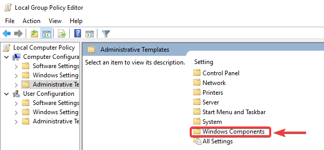 click on windows components