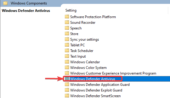 click on windows defender antivirus