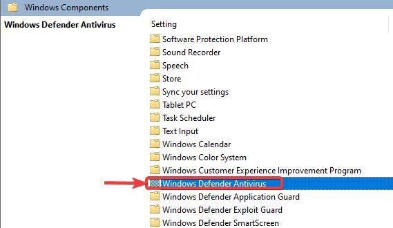 click on windows defender antivirus