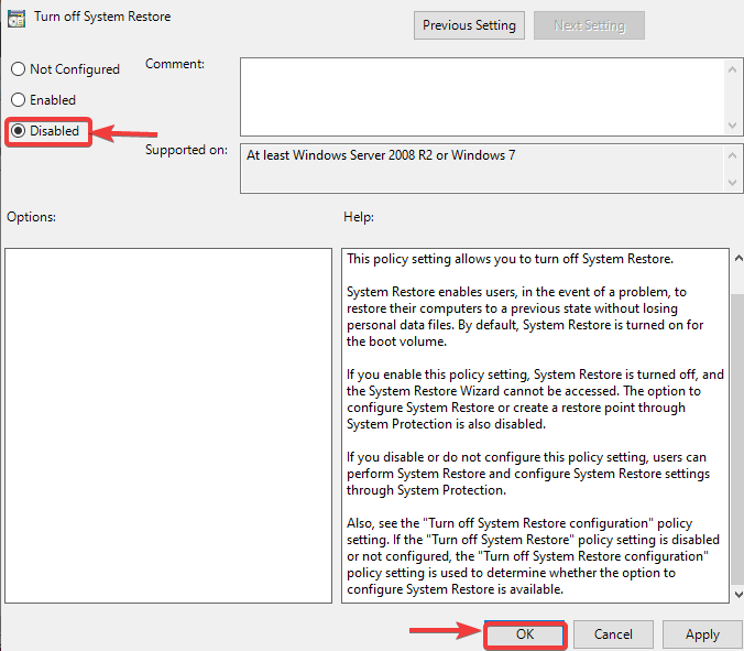 disable turn off setting