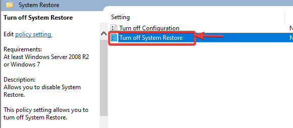 double click on system restore