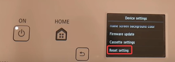 navigates the Reset Setting to fix Canon Printer not Responding