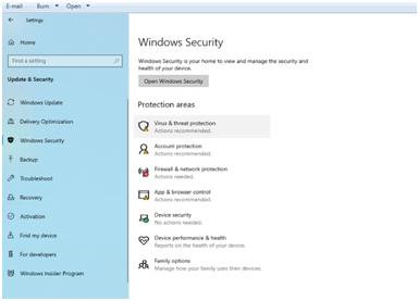 open Windows Security to fix Computer Randomly Turns Off