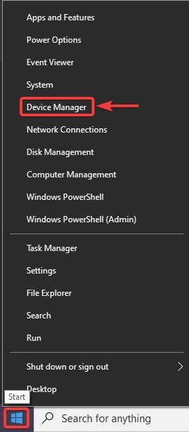 right click on menu button and click the device manager To Fix Sound problems in Windows 10: