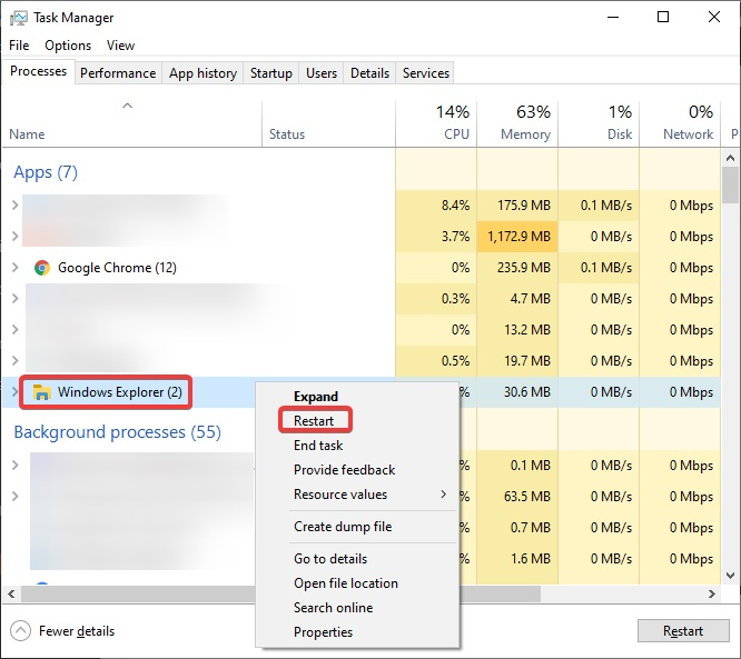 right-click the process and select Restart to fix Windows Explorer not responding