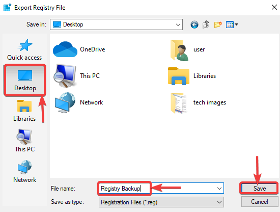 save registry backup file