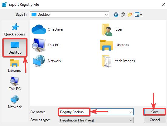 save registry backup file
