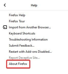 Choose About Firefox from the menu