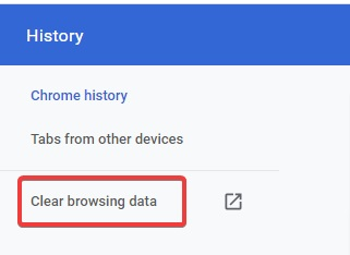 Clear Browsing Data to fix Your Connection is not Secure
