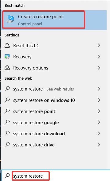 Click on create a Restore Point to fix Network Adapter Missing