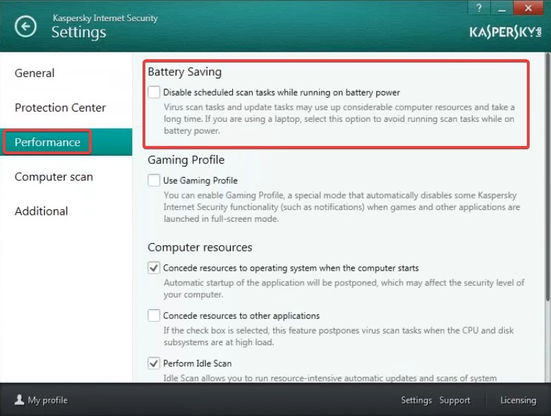 Disable scheduled scan to fix Kaspersky Login issue