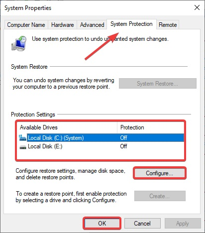 Select which drive you want to check and then click Configure