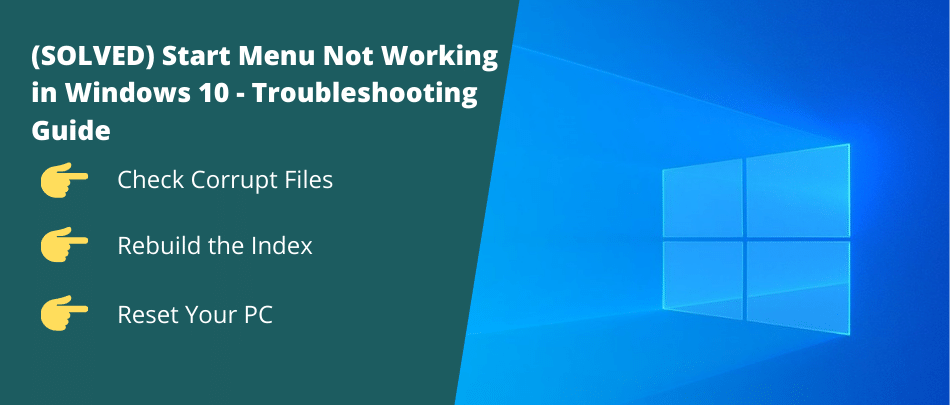 Start Menu Not Working in Windows 10
