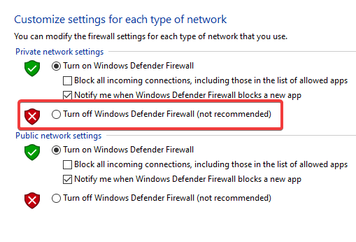 Turn off Windows Firewall (not recommended