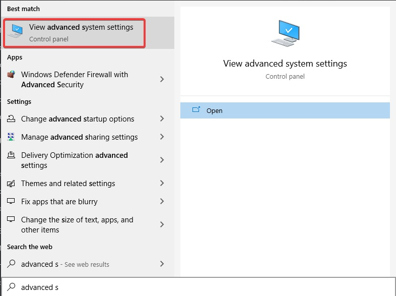 View Advanced system settings to fix Computer Keeps Restarting