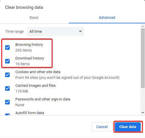 clear the browsing data to fix Chrome Keeps Opening New Tabs