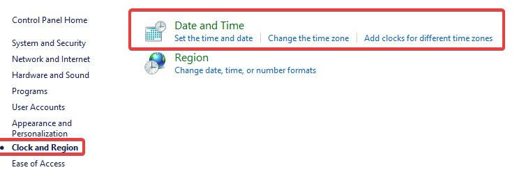 click on Clock language and Region and then Date and Time to fix Your Connection is not Secure