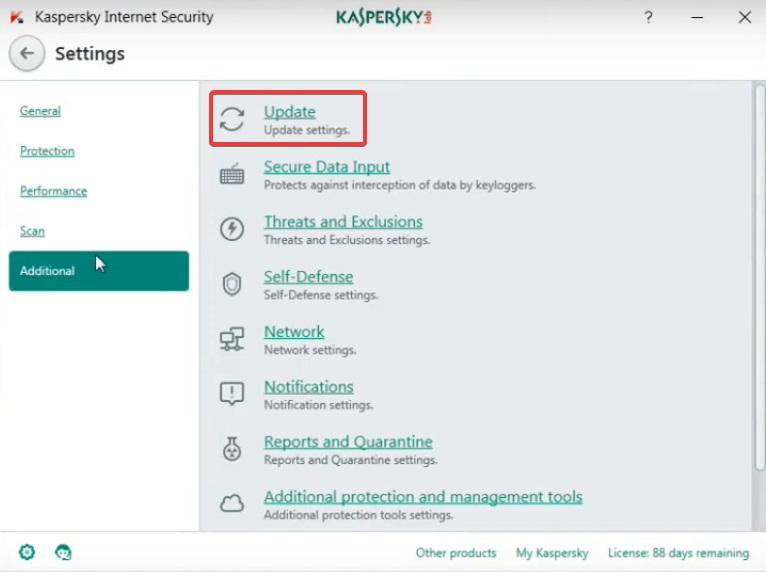 update settings to fix Kaspersky Login issue