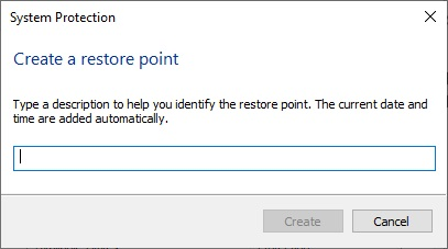 Name your restore point to Fix Windows 10 Crashing