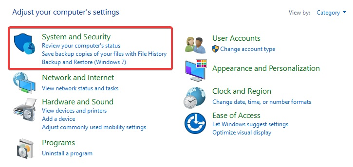 Then select System and Security