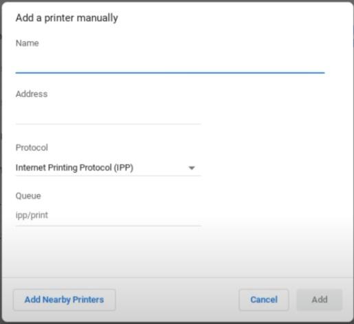 add printer manually to fix HP Printer Setup Chromebook