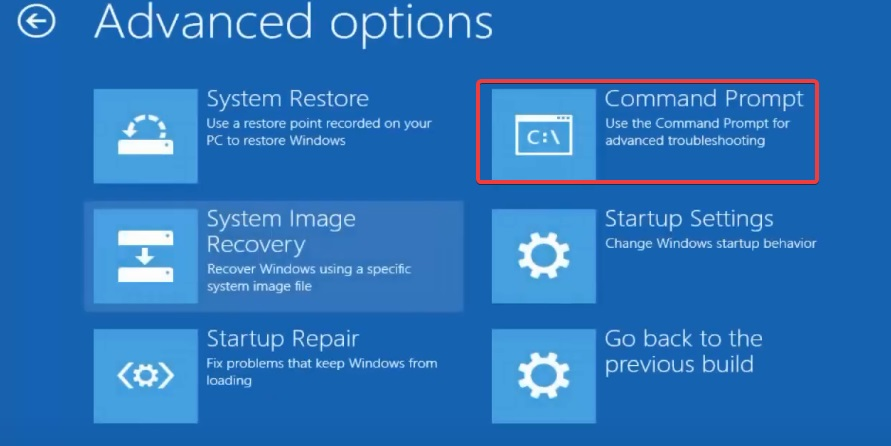 command Prompt in Advance option to fix Windows Won't Boot