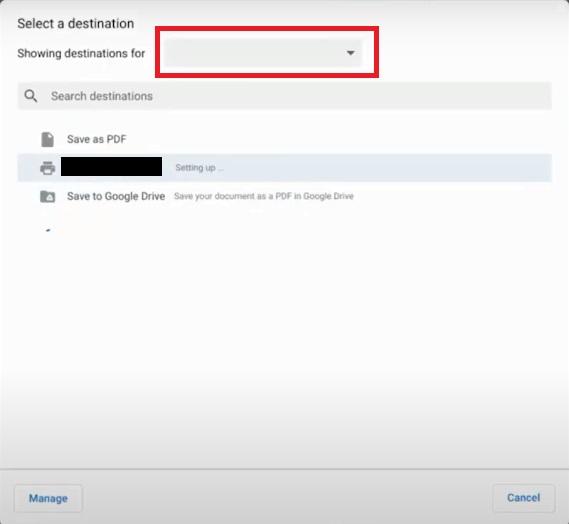 destination Chromebook Won't Connect to Printer