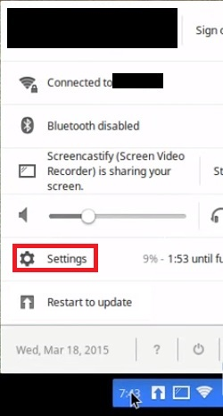open the settings to fix Chromebook Won't Connect to Printer