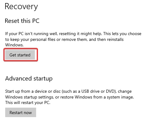 recovery get started to fix Windows 10 Won't Update