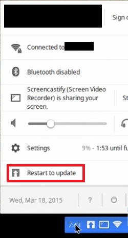 select Restart to update to fix Chromebook Won't Connect to Printer