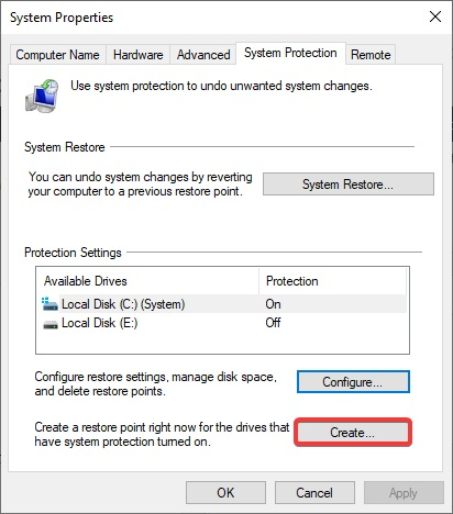 select the create button and click on it to fix Windows Won't Boot