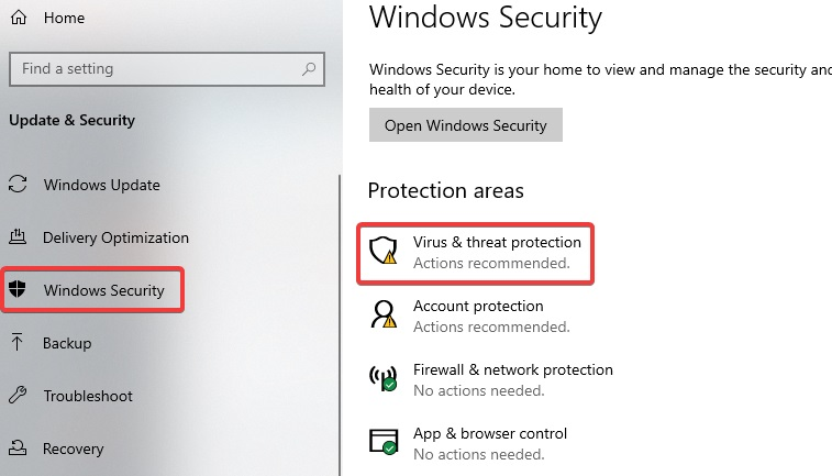 virus and threat protection to fix Network Adapter Missing
