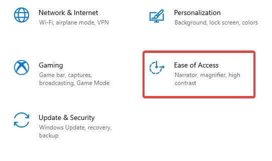 Ease of Access to Fix keyboard not detected
