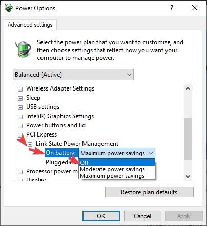 Link State Power Management to Fix Windows 10 Crashing