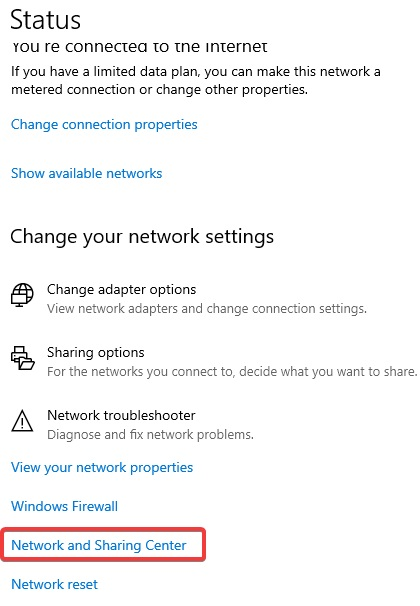 Network and Sharing center to fix Airplane Mode Error