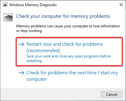Restart now and check for problems to Fix Windows 10 Crashing