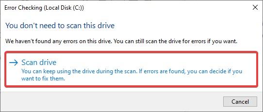 Scan drive c