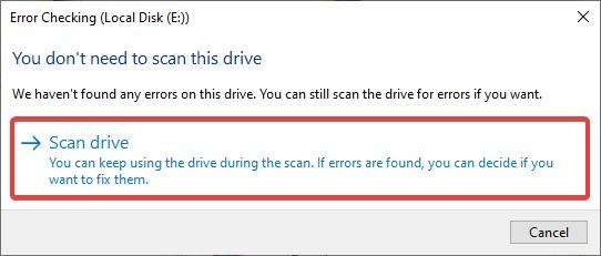 Scan drive to Fix Windows 10 Crashing