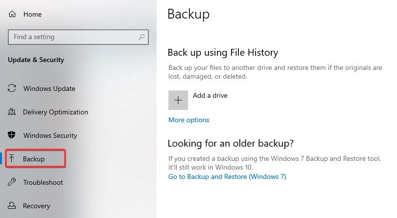 backup to Delete Backup Files in Windows 10
