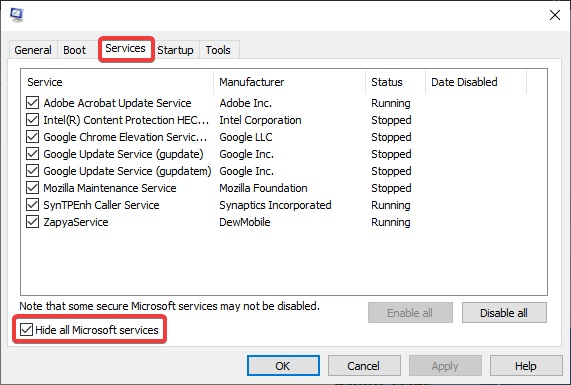 check the Hide All Microsoft Services box to Fix a Browser not working: