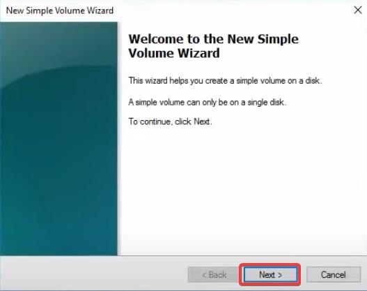 click next on new volume
